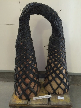 Maren Sinclair Hurn, The Way Forward: Strength and Flexibility, 1983. Ceramic, bicycle inner tubes, rubarb. .